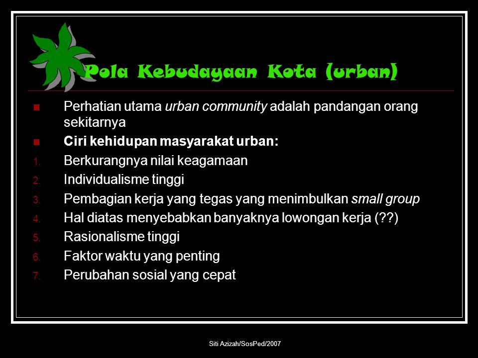 Pola Kebudayaan Kota (urban)