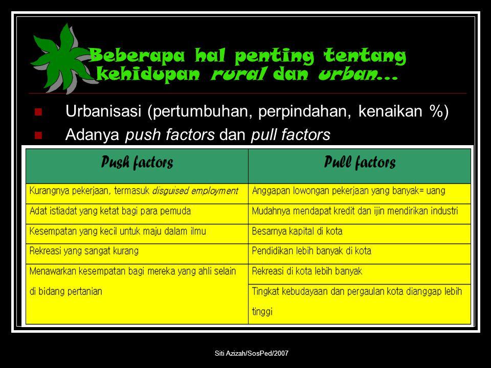 Beberapa hal penting tentang kehidupan rural dan urban…