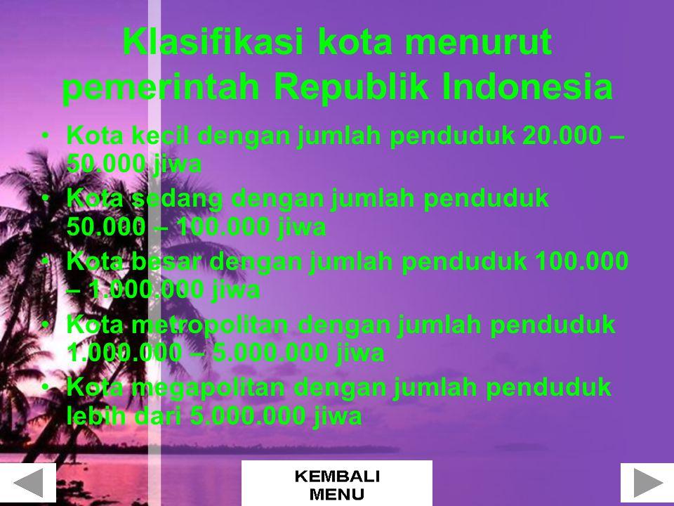 Klasifikasi kota menurut pemerintah Republik Indonesia