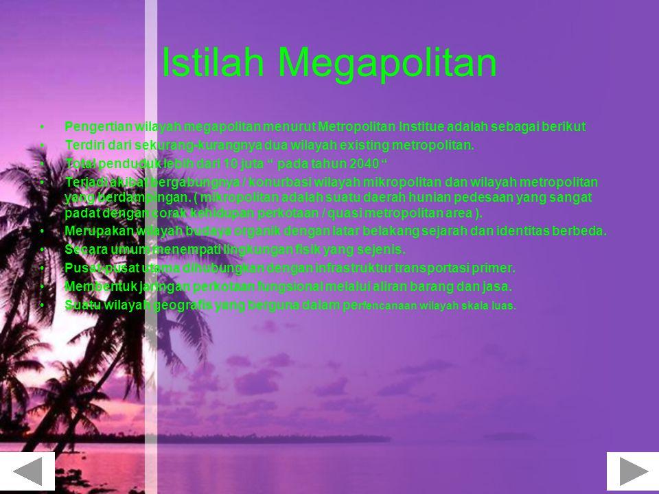Istilah Megapolitan Pengertian wilayah megapolitan menurut Metropolitan Institue adalah sebagai berikut.