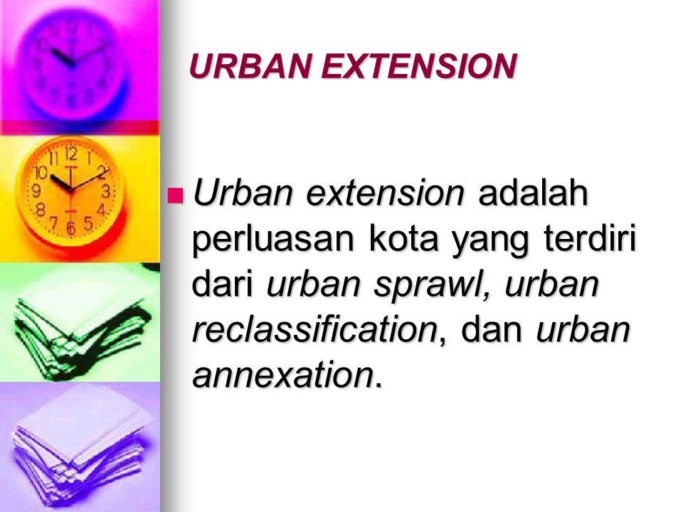 URBAN EXTENSION Urban extension adalah perluasan kota yang terdiri dari urban sprawl, urban reclassification, dan urban annexation.