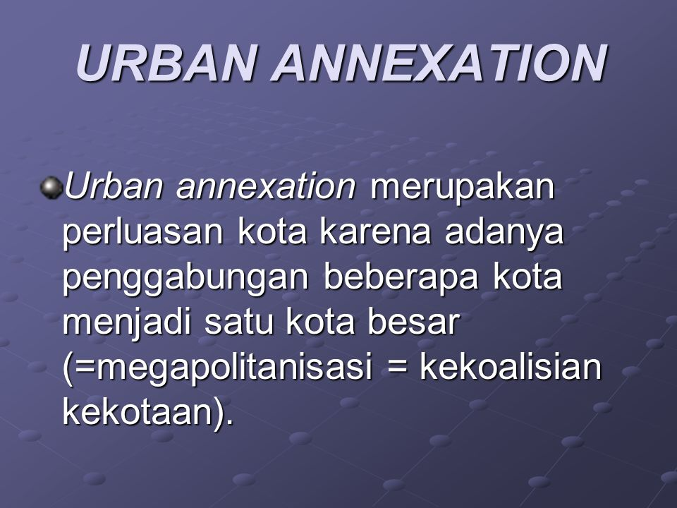 URBAN ANNEXATION