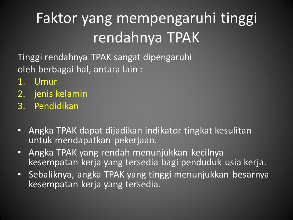 Faktor yang mempengaruhi tinggi rendahnya TPAK