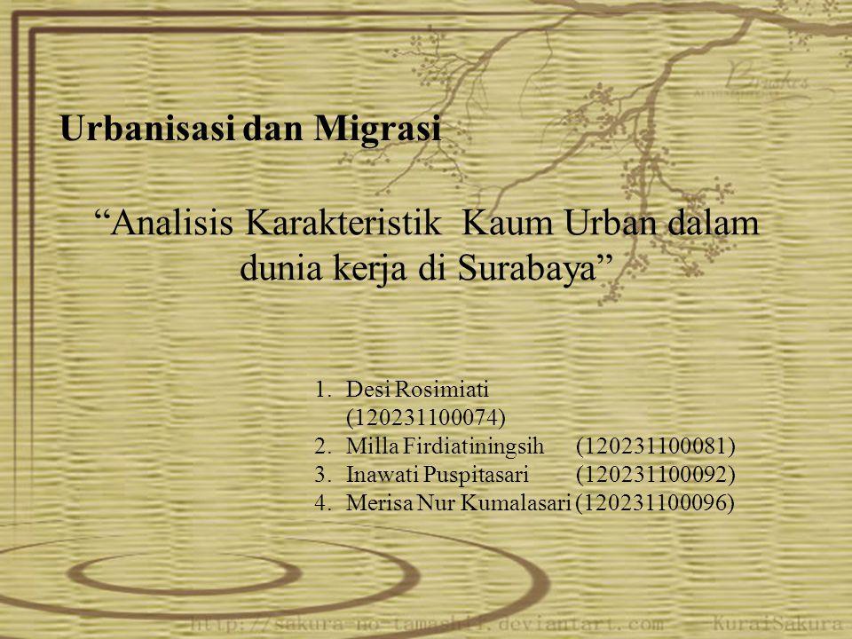 Analisis Karakteristik Kaum Urban dalam dunia kerja di Surabaya