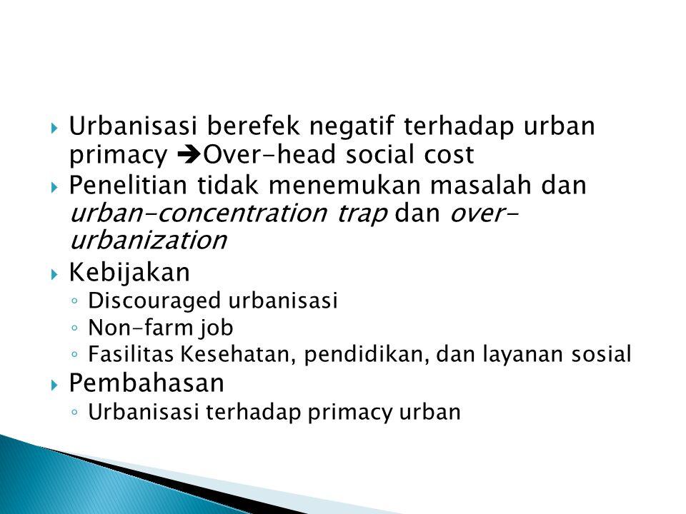 Urbanisasi berefek negatif terhadap urban primacy Over-head social cost