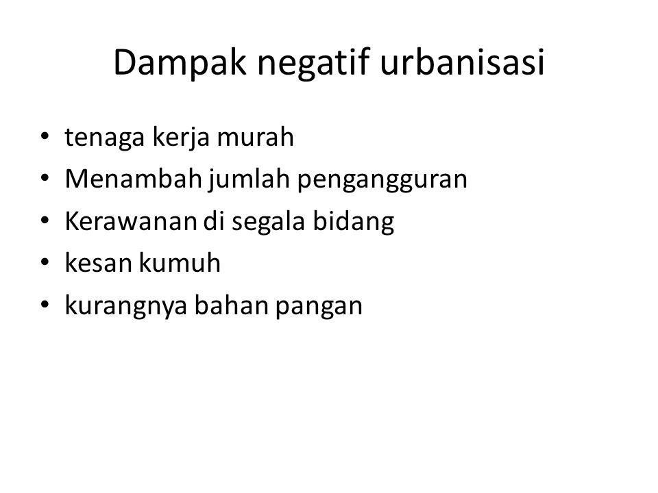 Dampak negatif urbanisasi