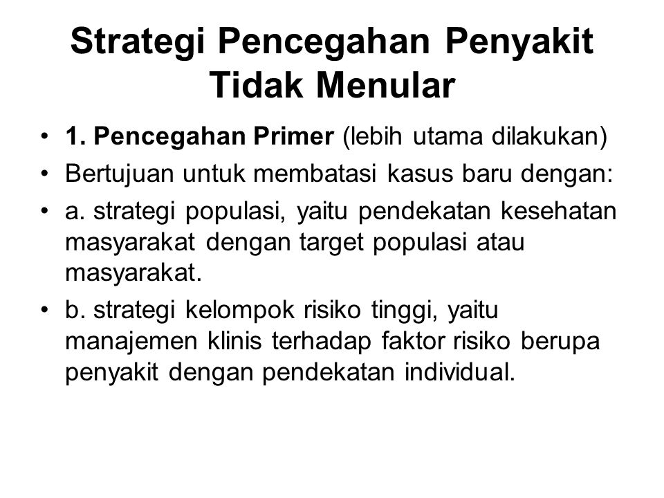 Strategi Pencegahan Penyakit Tidak Menular