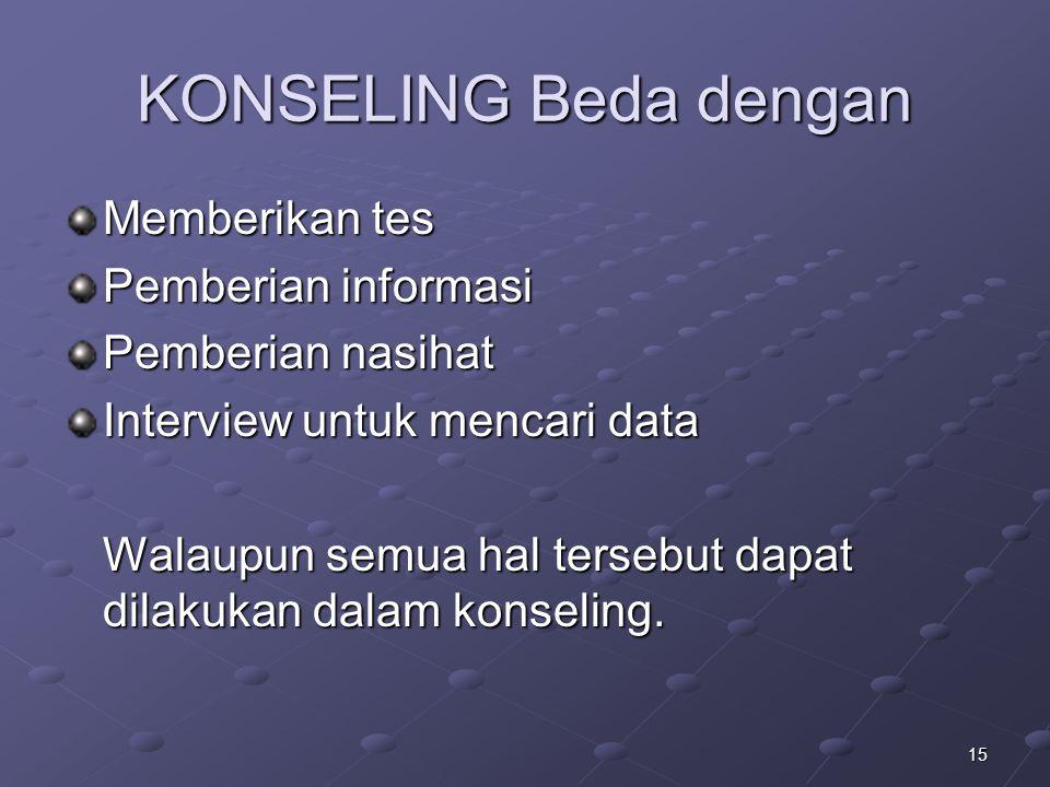 KONSELING Beda dengan Memberikan tes Pemberian informasi