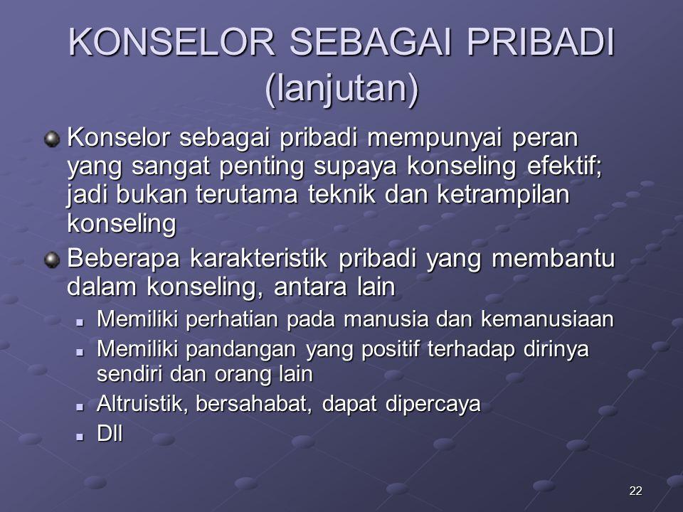 KONSELOR SEBAGAI PRIBADI (lanjutan)