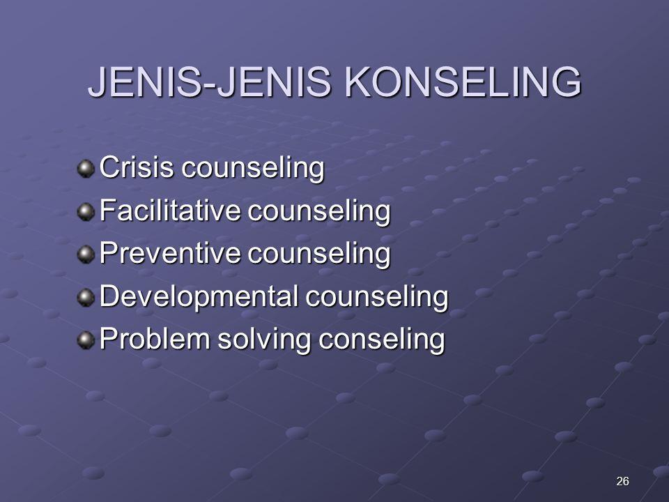 JENIS-JENIS KONSELING