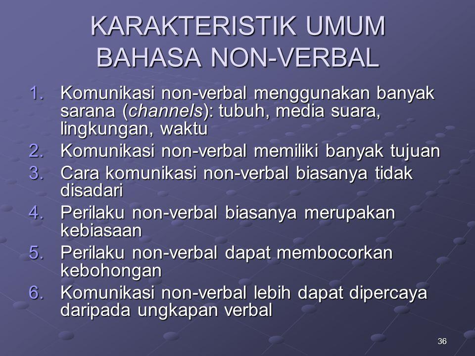 KARAKTERISTIK UMUM BAHASA NON-VERBAL