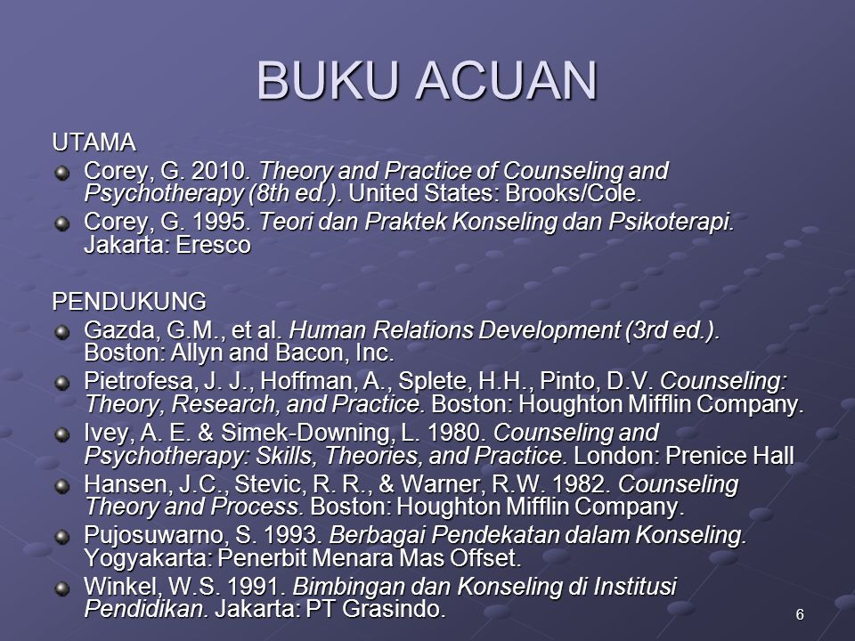 BUKU ACUAN UTAMA. Corey, G. 2010. Theory and Practice of Counseling and Psychotherapy (8th ed.). United States: Brooks/Cole.