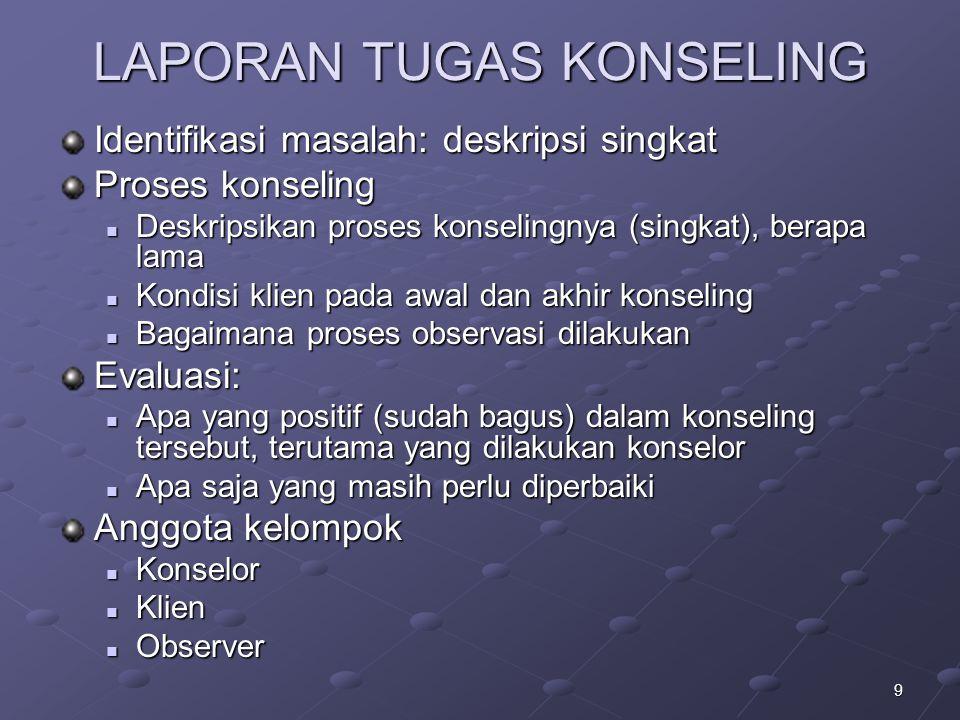 LAPORAN TUGAS KONSELING