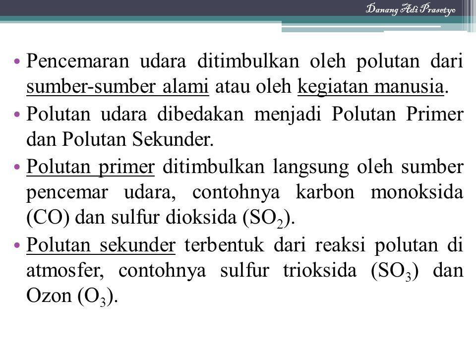 Polutan udara dibedakan menjadi Polutan Primer dan Polutan Sekunder.