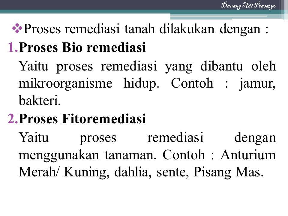 Proses remediasi tanah dilakukan dengan : Proses Bio remediasi