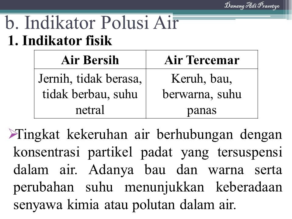 b. Indikator Polusi Air 1. Indikator fisik