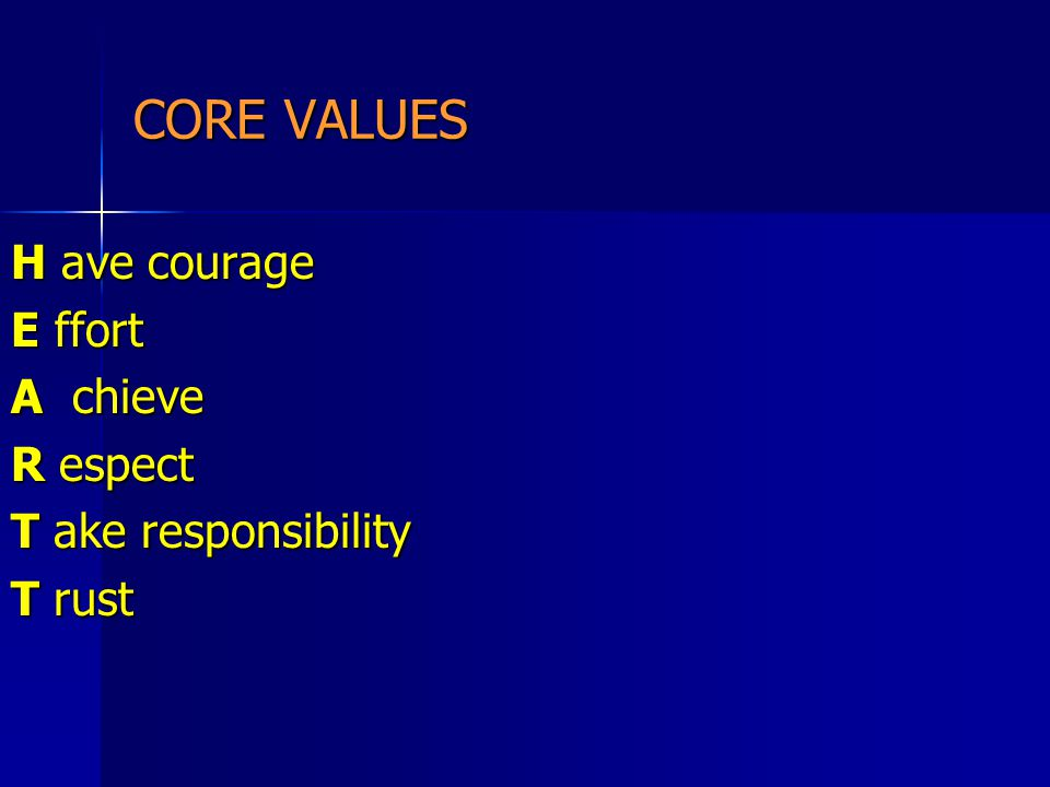 CORE VALUES H ave courage E ffort A chieve R espect