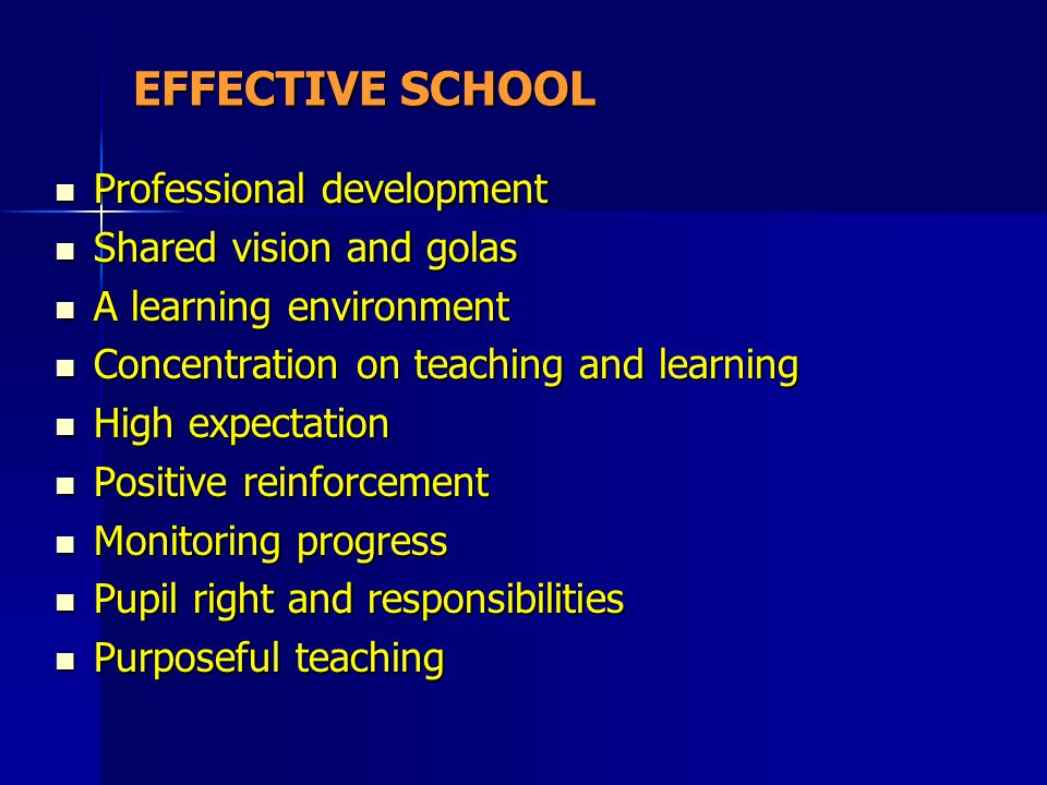 EFFECTIVE SCHOOL Professional development Shared vision and golas