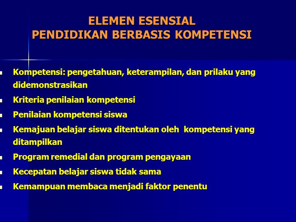 ELEMEN ESENSIAL PENDIDIKAN BERBASIS KOMPETENSI