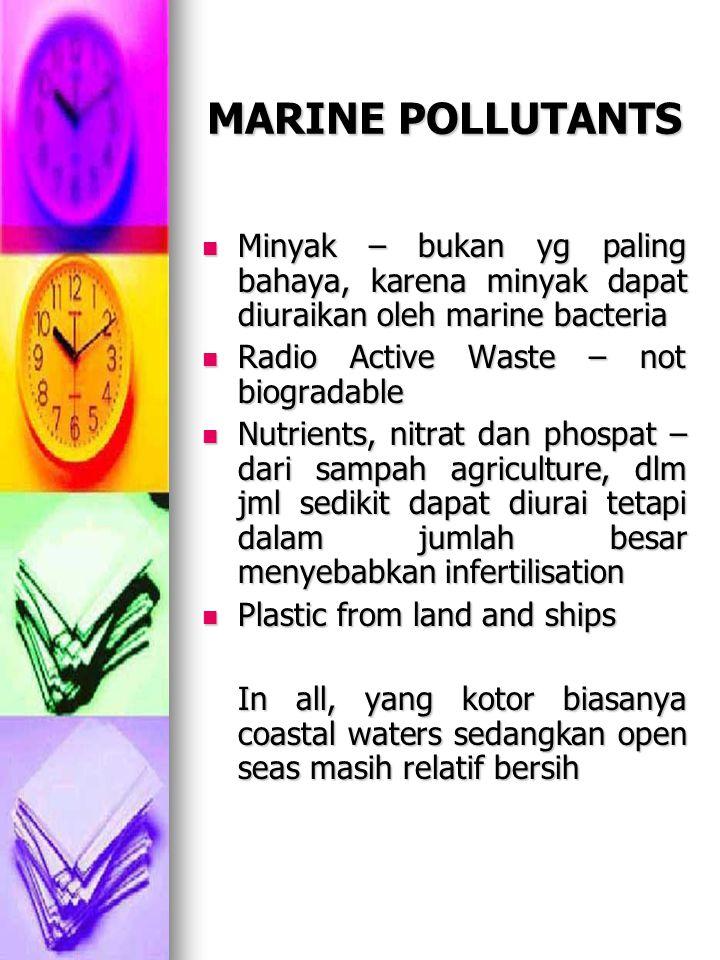 MARINE POLLUTANTS Minyak – bukan yg paling bahaya, karena minyak dapat diuraikan oleh marine bacteria.