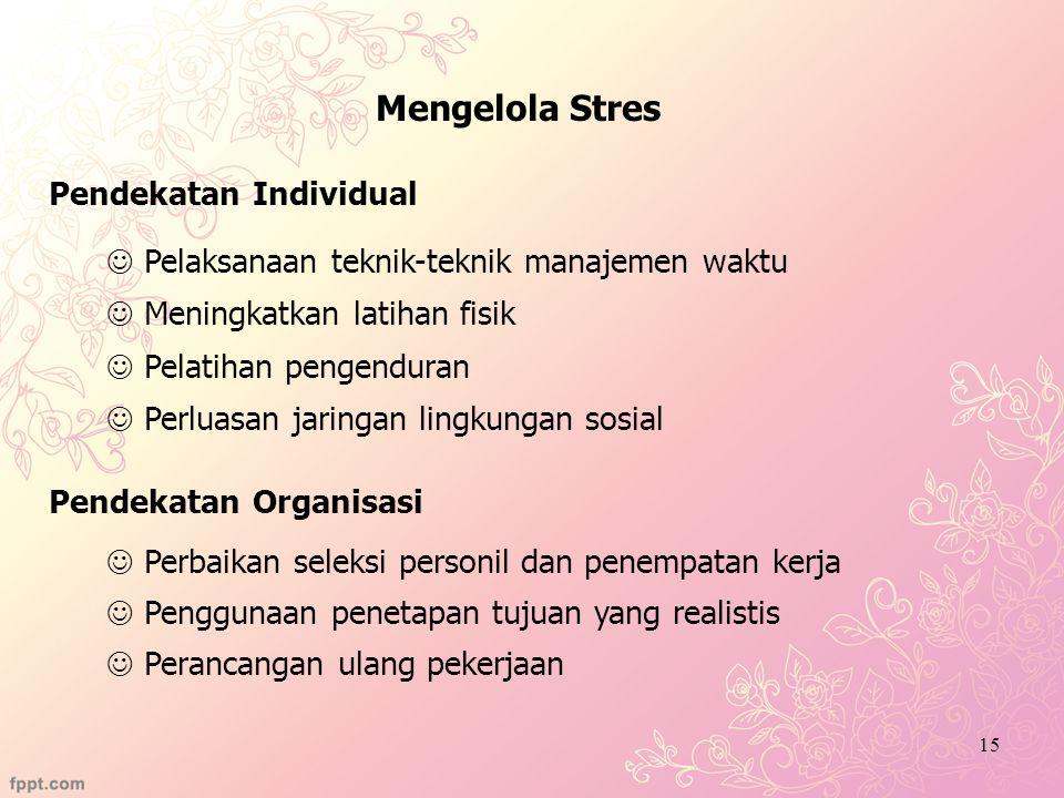 Mengelola Stres Pendekatan Individual