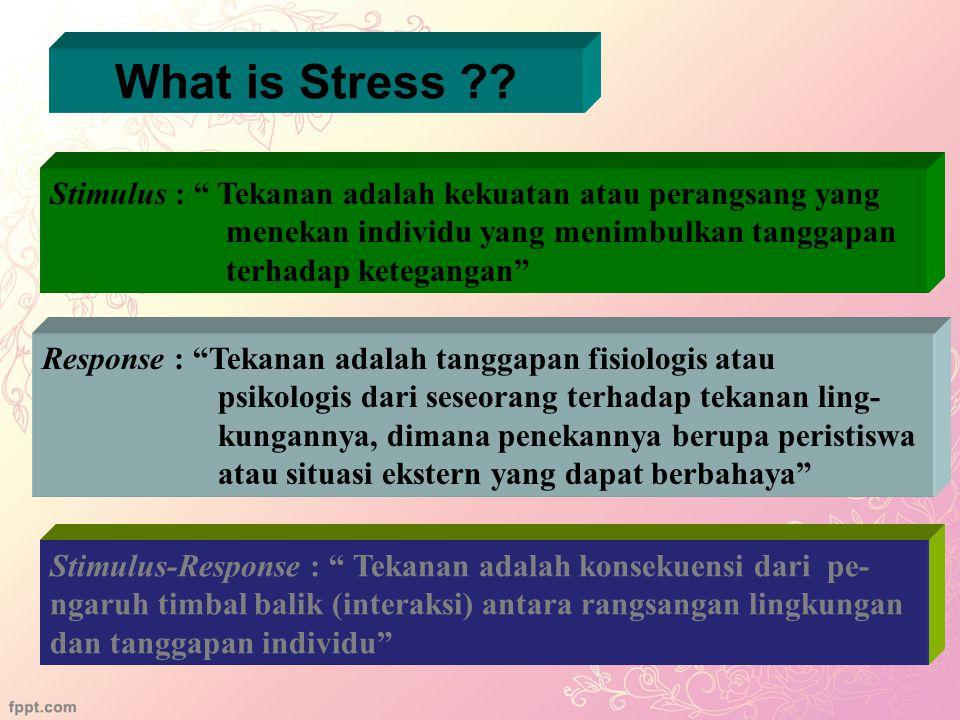 What is Stress Stimulus : Tekanan adalah kekuatan atau perangsang yang. menekan individu yang menimbulkan tanggapan.