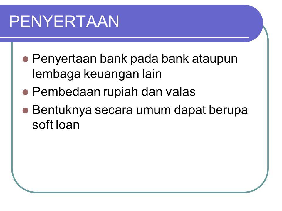 PENYERTAAN Penyertaan bank pada bank ataupun lembaga keuangan lain
