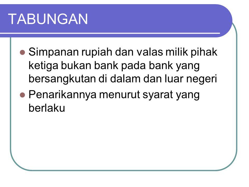 TABUNGAN Simpanan rupiah dan valas milik pihak ketiga bukan bank pada bank yang bersangkutan di dalam dan luar negeri.