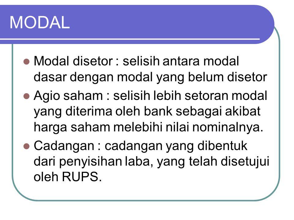 MODAL Modal disetor : selisih antara modal dasar dengan modal yang belum disetor.