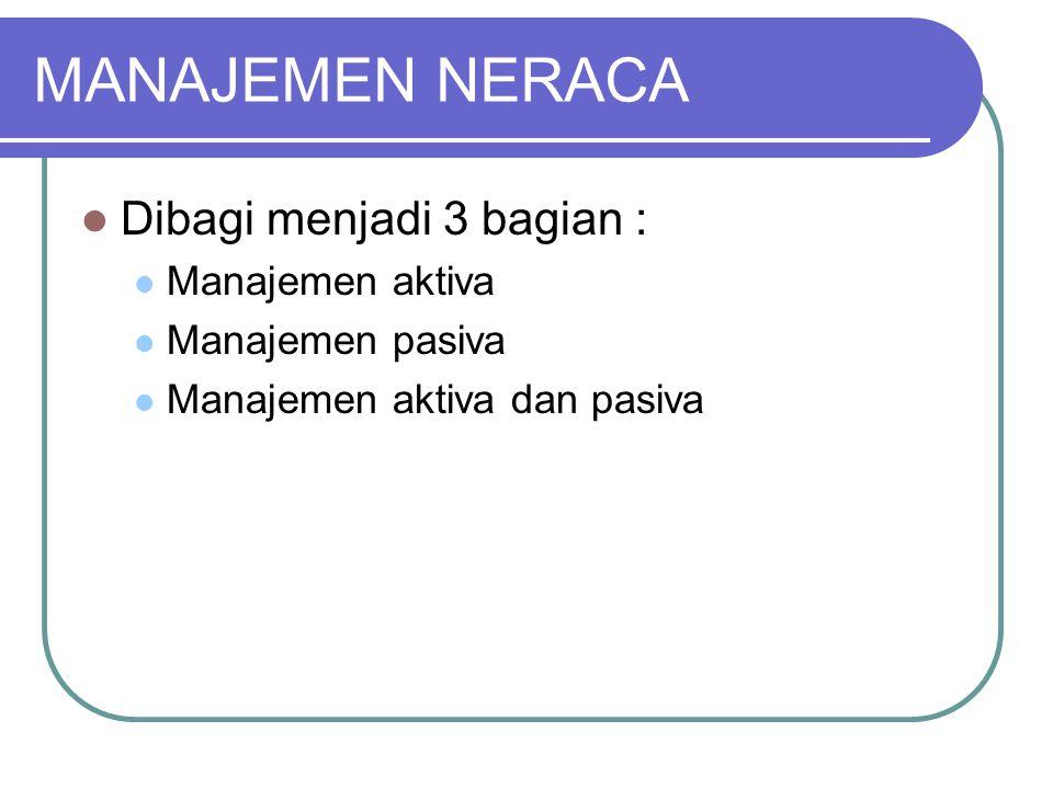 MANAJEMEN NERACA Dibagi menjadi 3 bagian : Manajemen aktiva