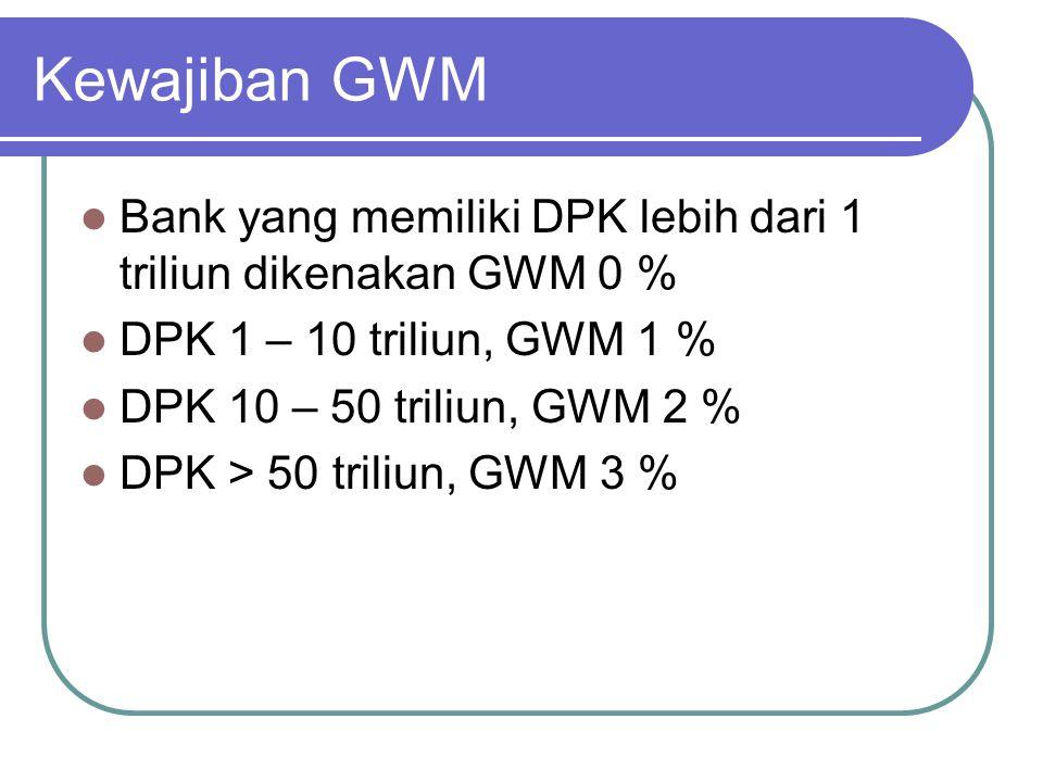 Kewajiban GWM Bank yang memiliki DPK lebih dari 1 triliun dikenakan GWM 0 % DPK 1 – 10 triliun, GWM 1 %