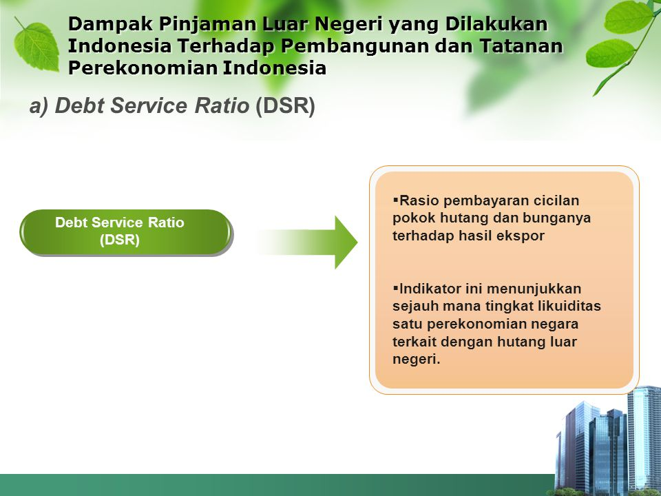 Debt Service Ratio (DSR)