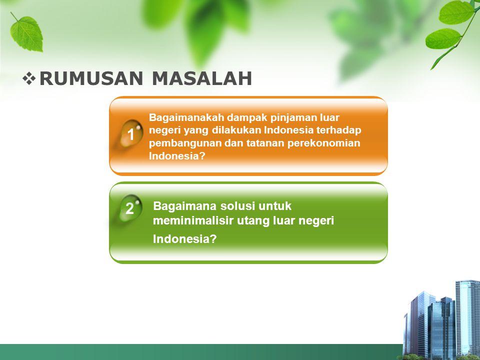RUMUSAN MASALAH Bagaimanakah dampak pinjaman luar negeri yang dilakukan Indonesia terhadap pembangunan dan tatanan perekonomian Indonesia