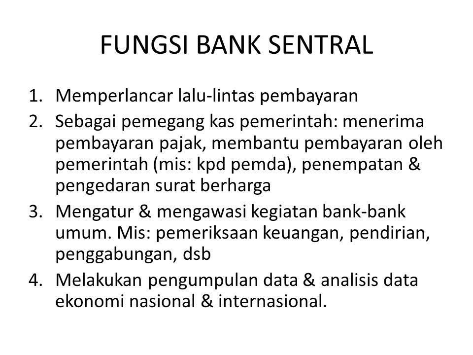FUNGSI BANK SENTRAL Memperlancar lalu-lintas pembayaran