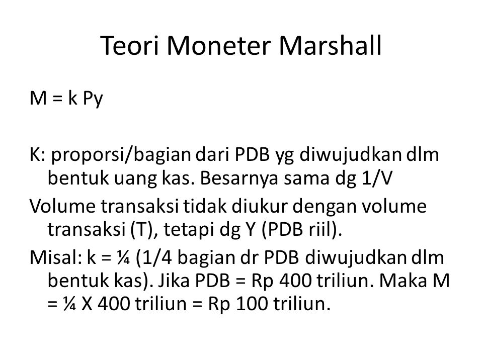 Teori Moneter Marshall