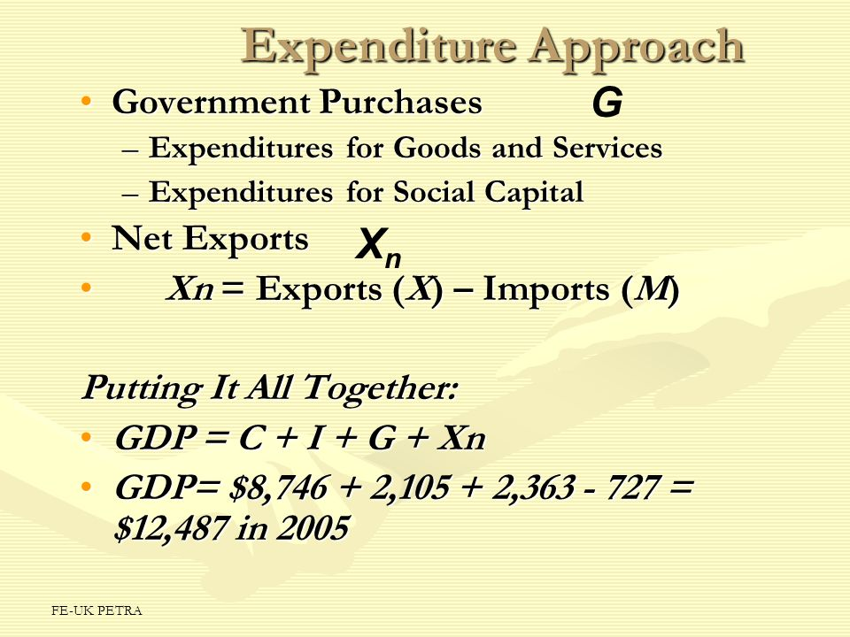 Expenditure Approach G Xn Government Purchases Net Exports