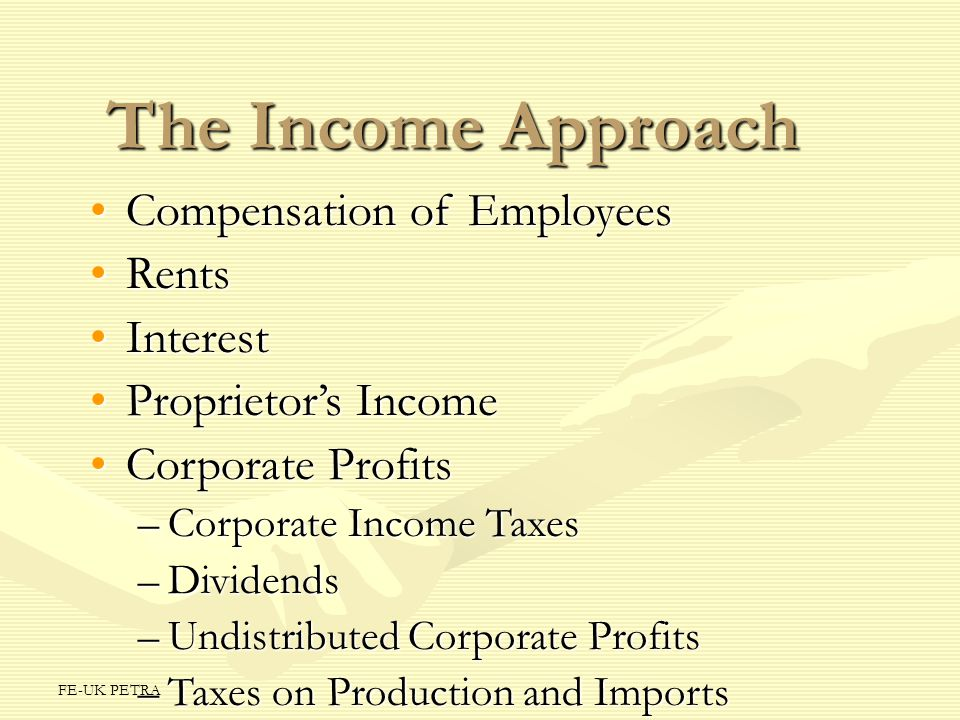 The Income Approach Compensation of Employees Rents Interest