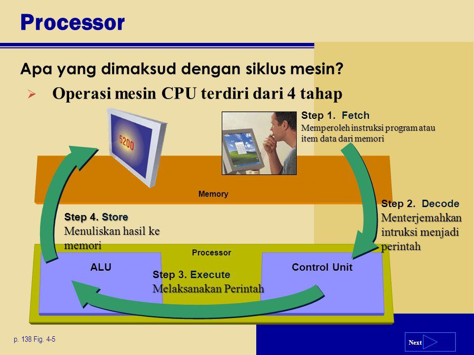 Processor Operasi mesin CPU terdiri dari 4 tahap