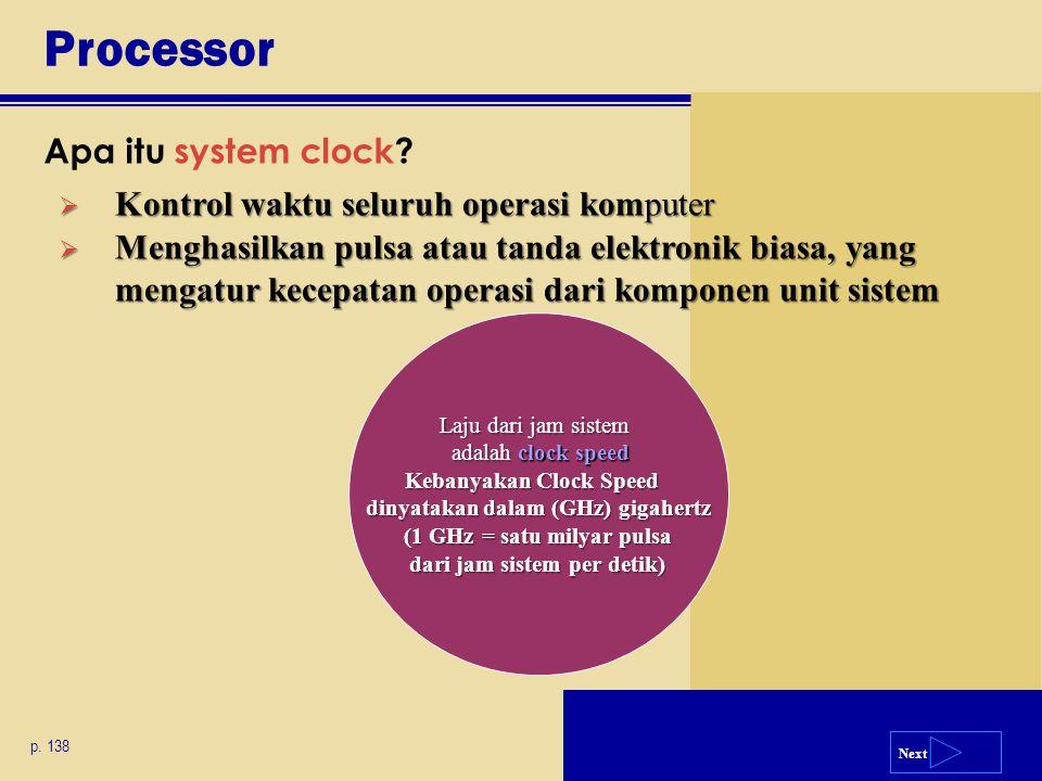 Processor Apa itu system clock Kontrol waktu seluruh operasi komputer