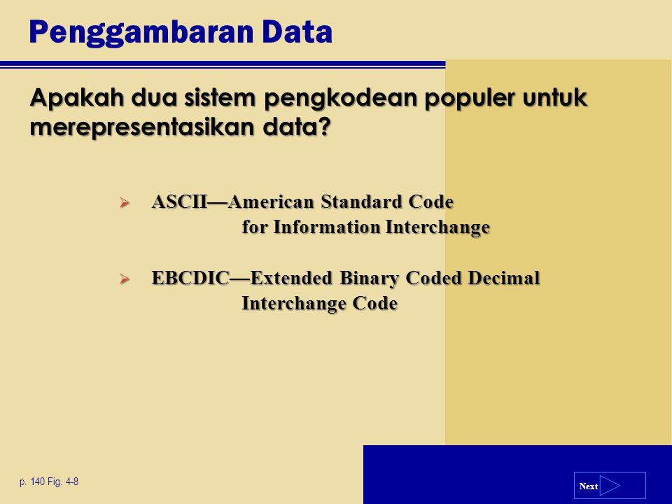 Penggambaran Data Apakah dua sistem pengkodean populer untuk merepresentasikan data ASCII—American Standard Code for Information Interchange.