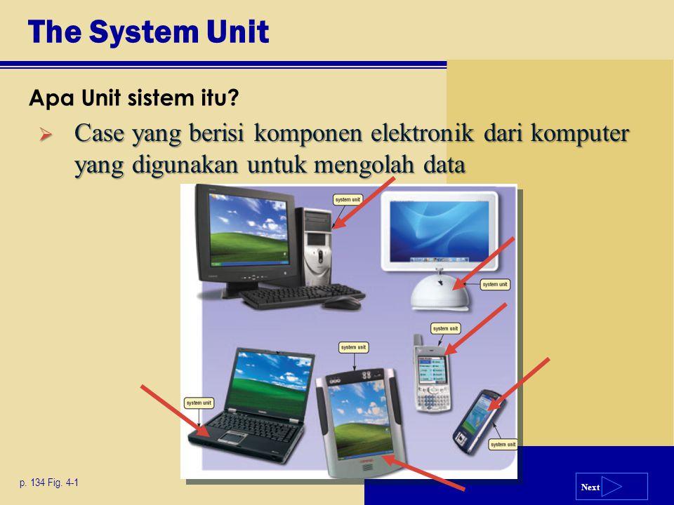 The System Unit Apa Unit sistem itu Case yang berisi komponen elektronik dari komputer yang digunakan untuk mengolah data.
