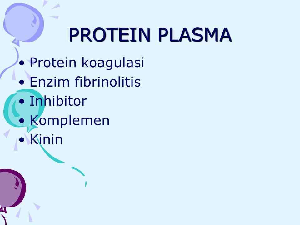 PROTEIN PLASMA Protein koagulasi Enzim fibrinolitis Inhibitor