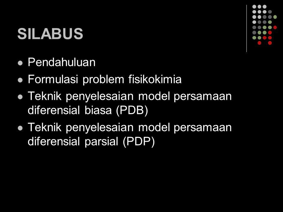 SILABUS Pendahuluan Formulasi problem fisikokimia