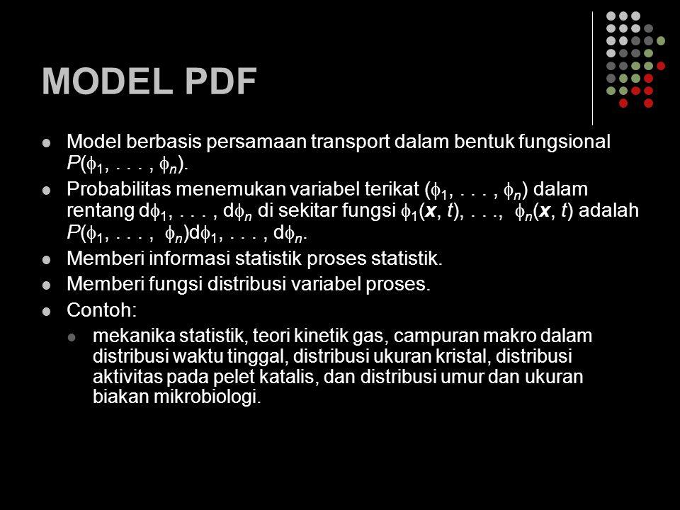 MODEL PDF Model berbasis persamaan transport dalam bentuk fungsional P(1, . . . , n).