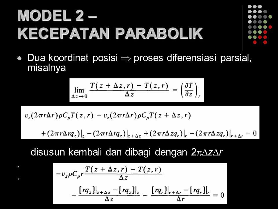 MODEL 2 – KECEPATAN PARABOLIK