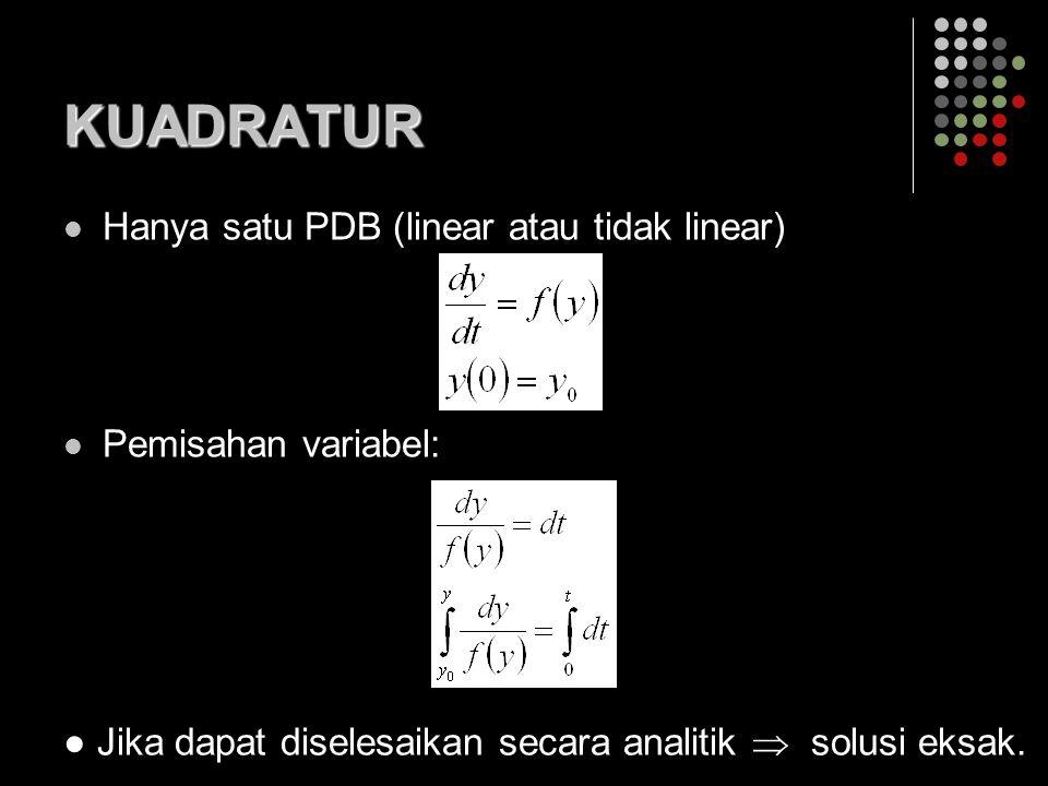 KUADRATUR Hanya satu PDB (linear atau tidak linear)