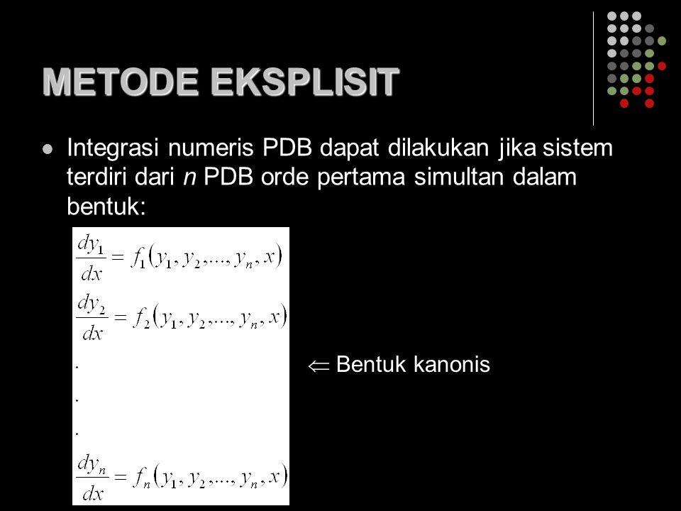 METODE EKSPLISIT Integrasi numeris PDB dapat dilakukan jika sistem terdiri dari n PDB orde pertama simultan dalam bentuk: