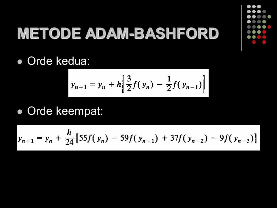 METODE ADAM-BASHFORD Orde kedua: Orde keempat: