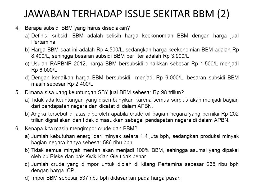 JAWABAN TERHADAP ISSUE SEKITAR BBM (2)