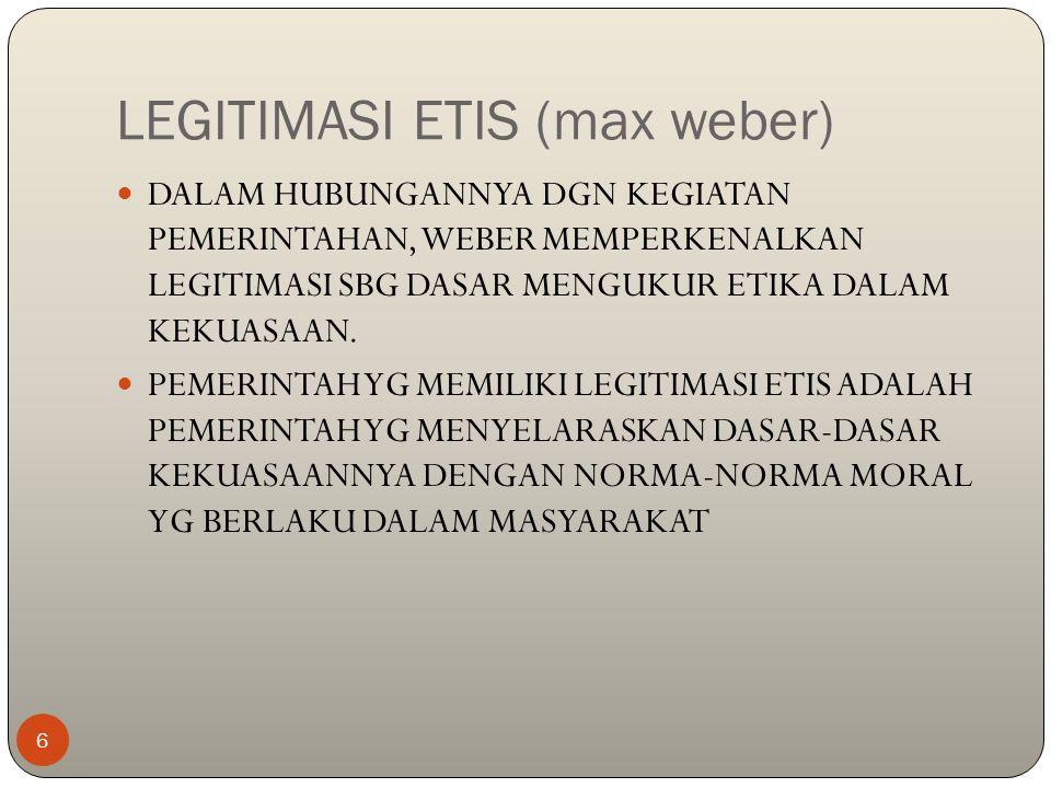 LEGITIMASI ETIS (max weber)